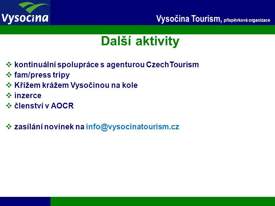 Další aktivity Vysočina Tourism, příspěvková organizace