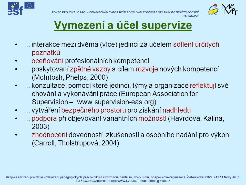 Vymezení a účel supervize