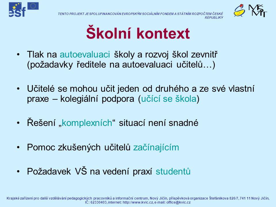 Školní kontext Tlak na autoevaluaci školy a rozvoj škol zevnitř (požadavky ředitele na autoevaluaci učitelů…)
