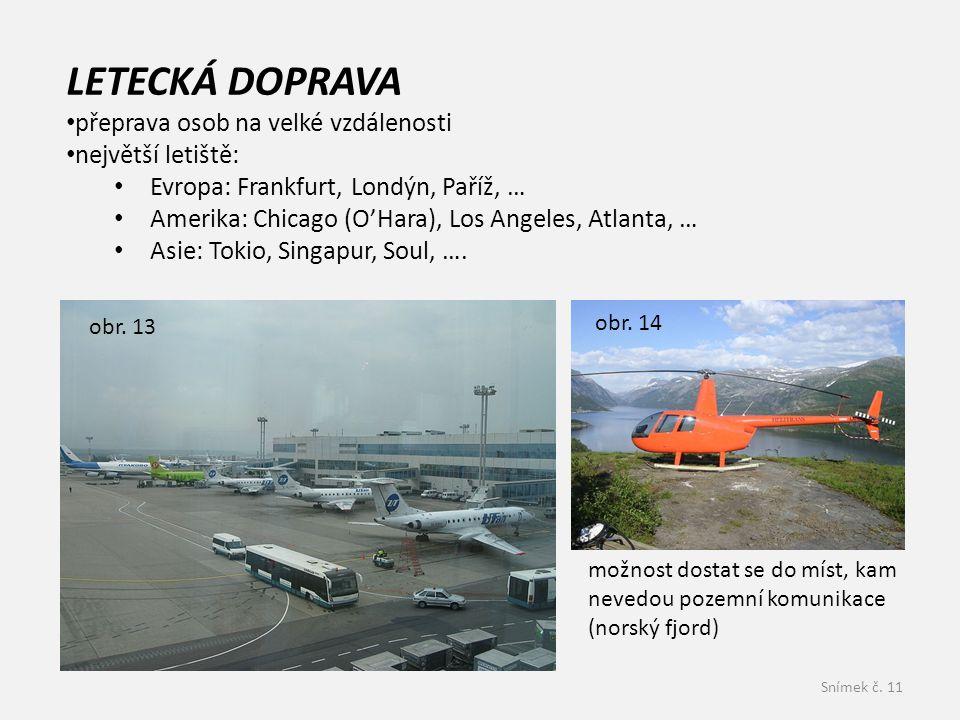 LETECKÁ DOPRAVA přeprava osob na velké vzdálenosti největší letiště: