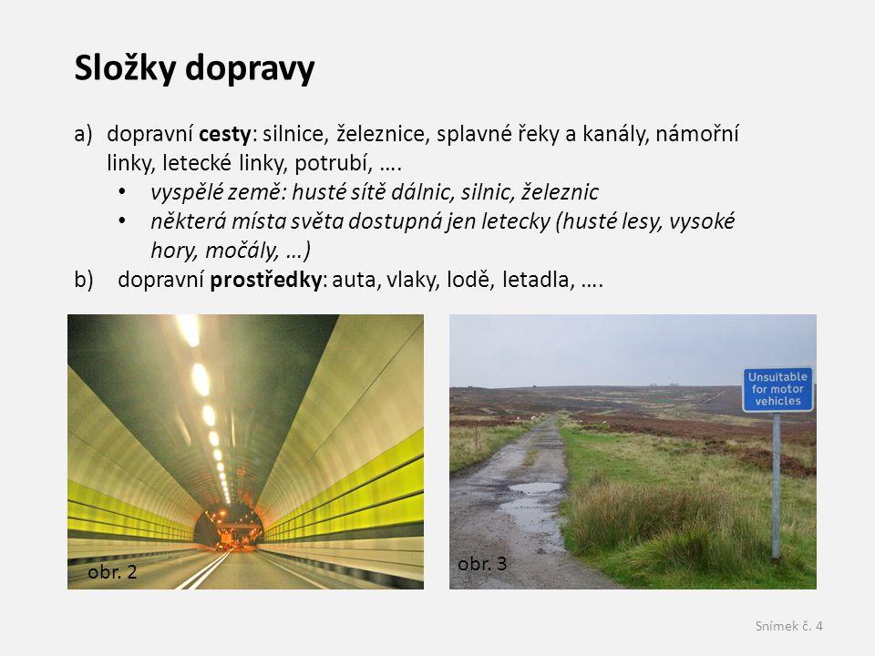 Složky dopravy dopravní cesty: silnice, železnice, splavné řeky a kanály, námořní linky, letecké linky, potrubí, ….