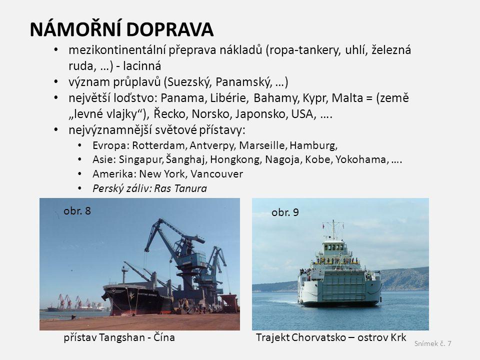 NÁMOŘNÍ DOPRAVA mezikontinentální přeprava nákladů (ropa-tankery, uhlí, železná ruda, …) - lacinná.
