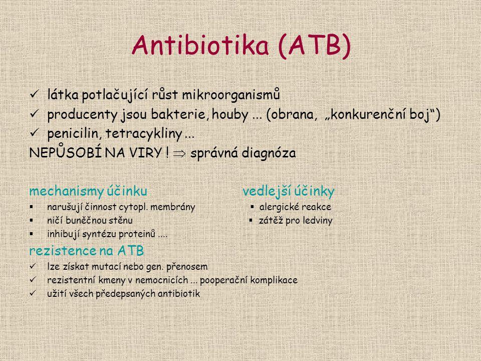 Antibiotika (ATB) látka potlačující růst mikroorganismů