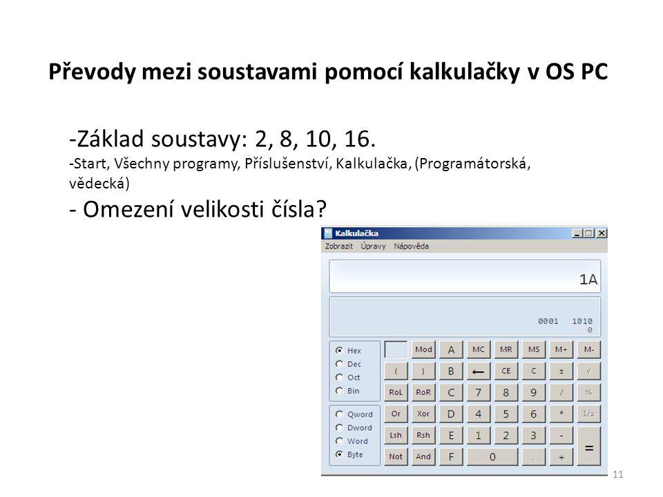 Převody mezi soustavami pomocí kalkulačky v OS PC