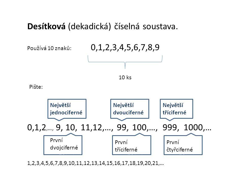 Desítková (dekadická) číselná soustava.