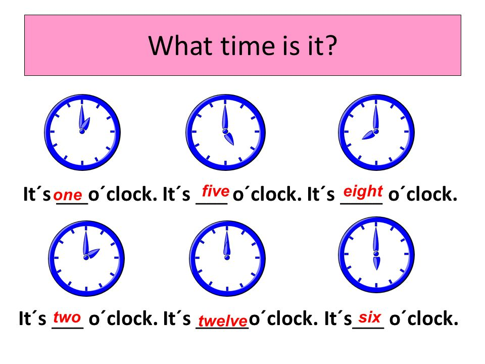What time is it It´s ___o´clock. It´s ___ o´clock. It´s ____ o´clock. It´s ___ o´clock. It´s _____o´clock. It´s___ o´clock.