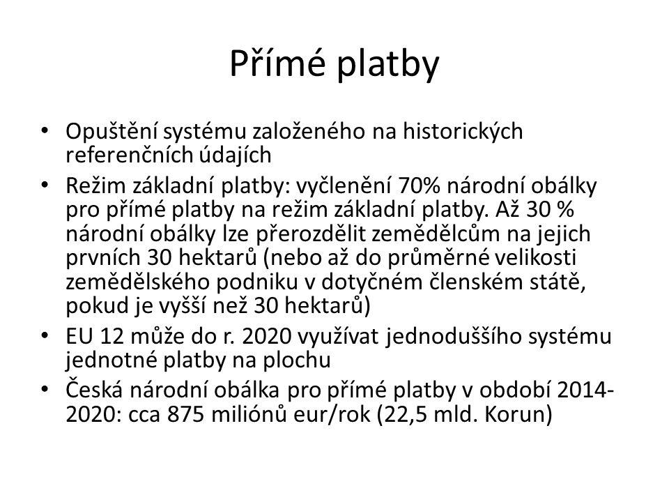 Přímé platby Opuštění systému založeného na historických referenčních údajích.