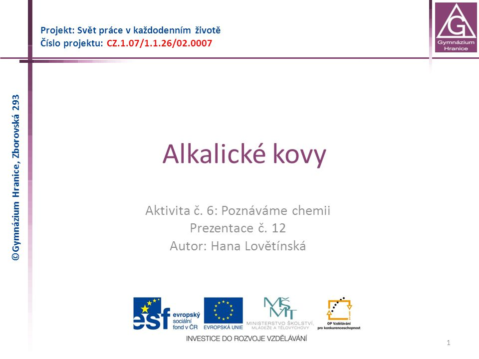 Alkalické kovy Aktivita č. 6: Poznáváme chemii Prezentace č. 12