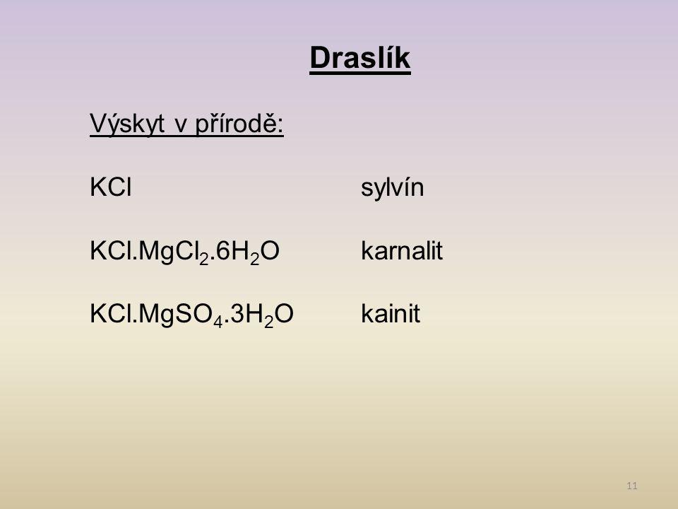 Draslík Výskyt v přírodě: KCl sylvín KCl.MgCl2.6H2O karnalit
