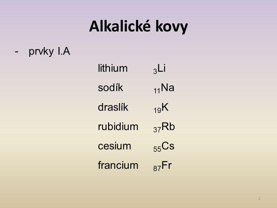 Alkalické kovy prvky I.A lithium 3Li sodík 11Na draslík 19K