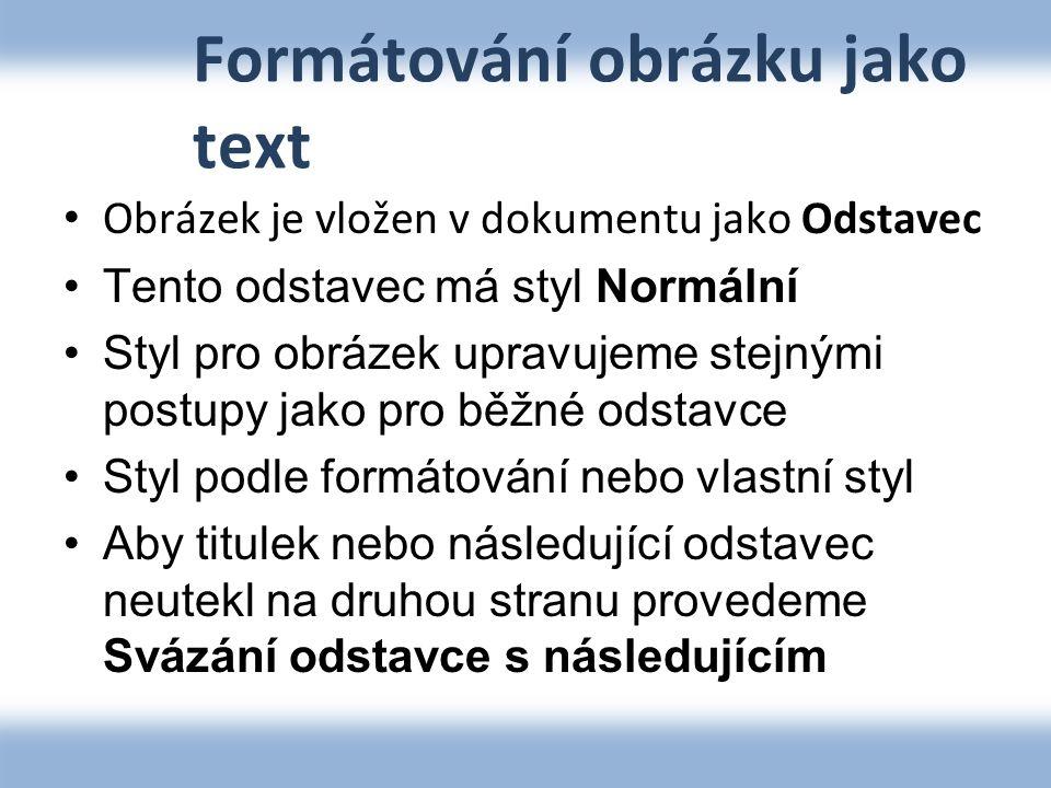 Formátování obrázku jako text
