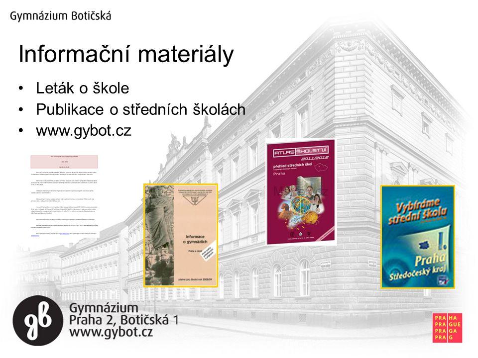 Informační materiály Leták o škole Publikace o středních školách