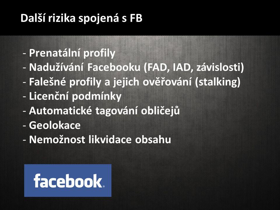 Další rizika spojená s FB