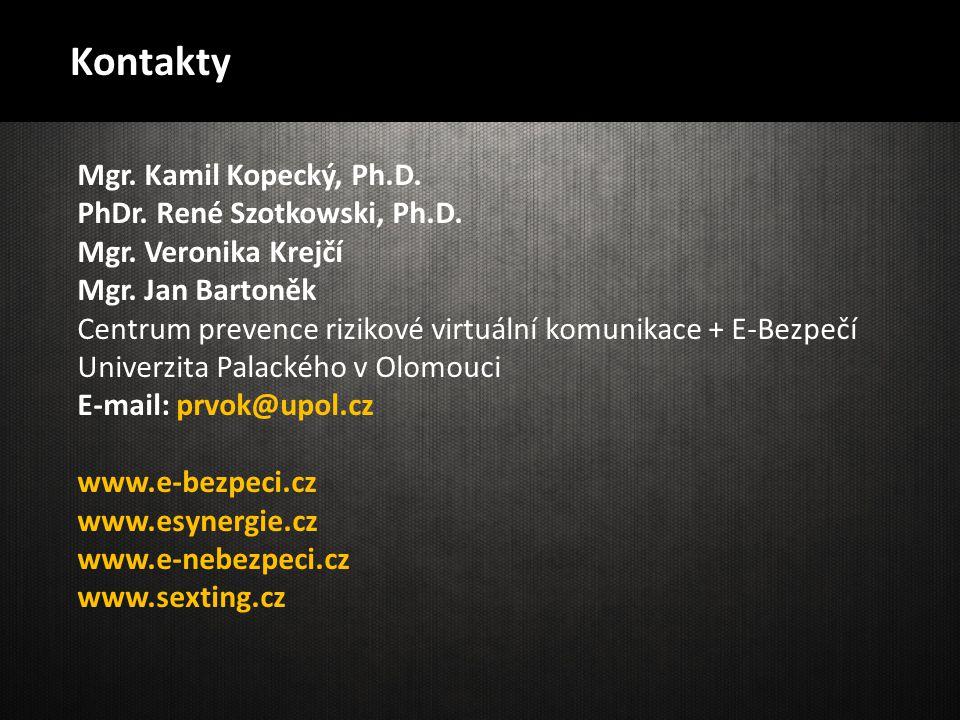 Kontakty Mgr. Kamil Kopecký, Ph.D. PhDr. René Szotkowski, Ph.D.