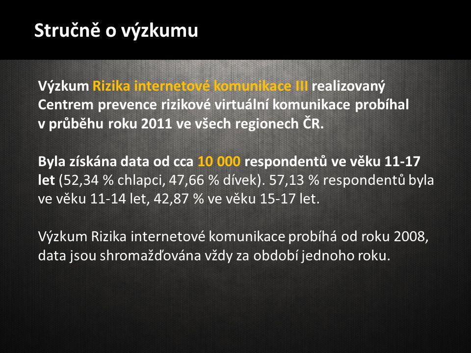 Stručně o výzkumu Výzkum Rizika internetové komunikace III realizovaný