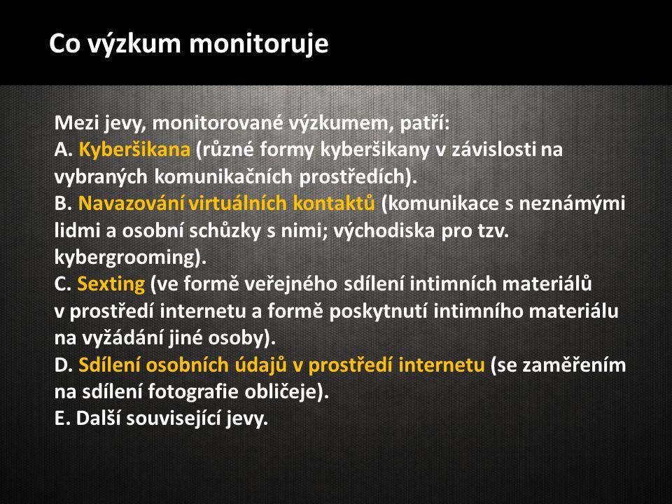 Co výzkum monitoruje Mezi jevy, monitorované výzkumem, patří: