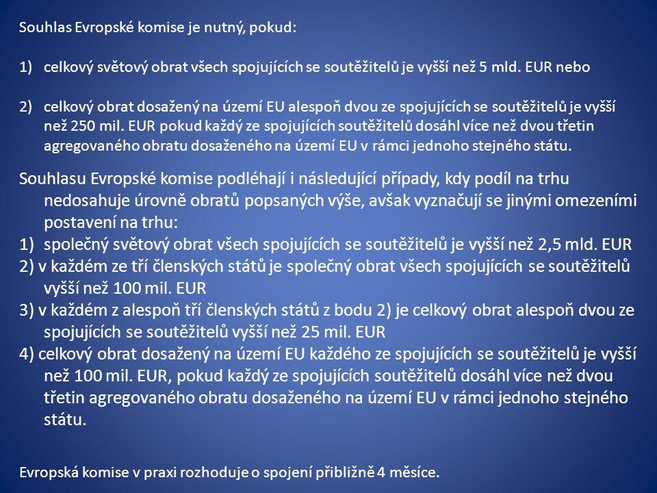 Souhlas Evropské komise je nutný, pokud: