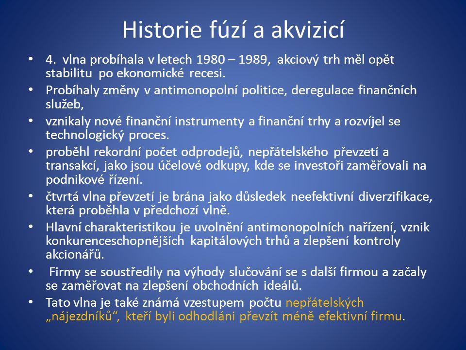 Historie fúzí a akvizicí