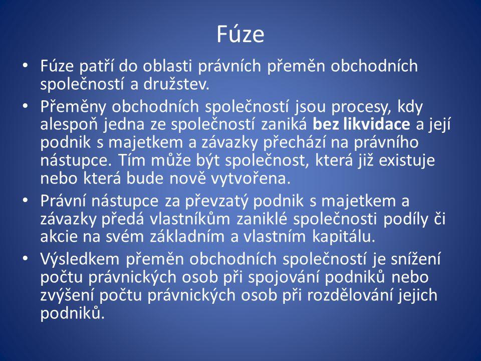 Fúze Fúze patří do oblasti právních přeměn obchodních společností a družstev.