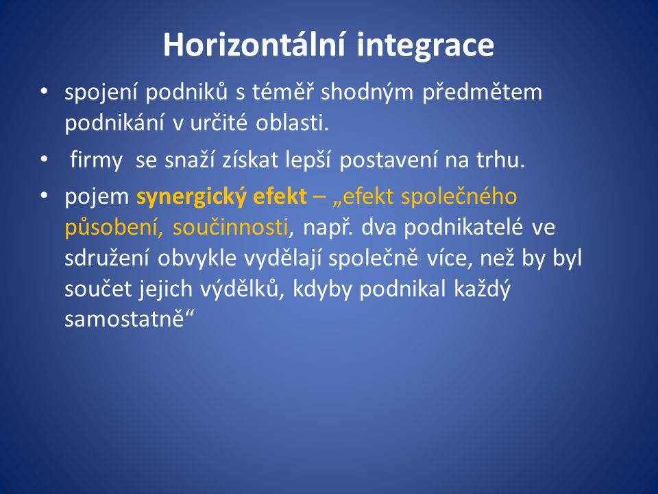 Horizontální integrace