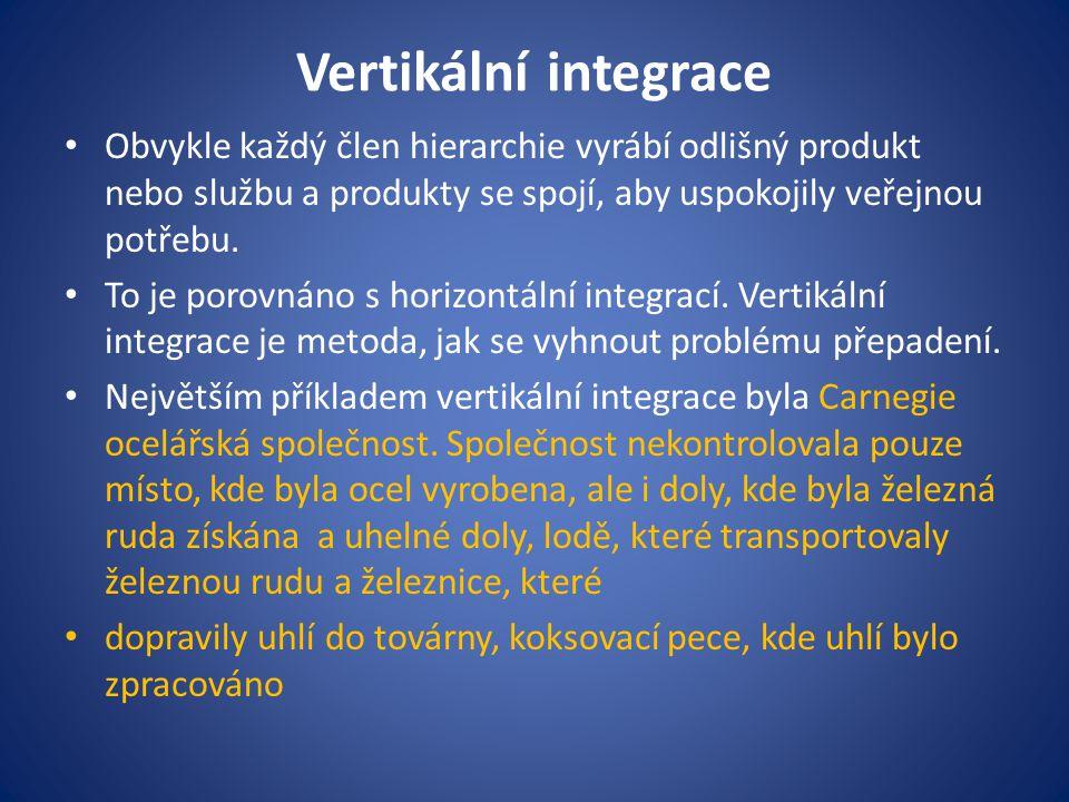 Vertikální integrace Obvykle každý člen hierarchie vyrábí odlišný produkt nebo službu a produkty se spojí, aby uspokojily veřejnou potřebu.