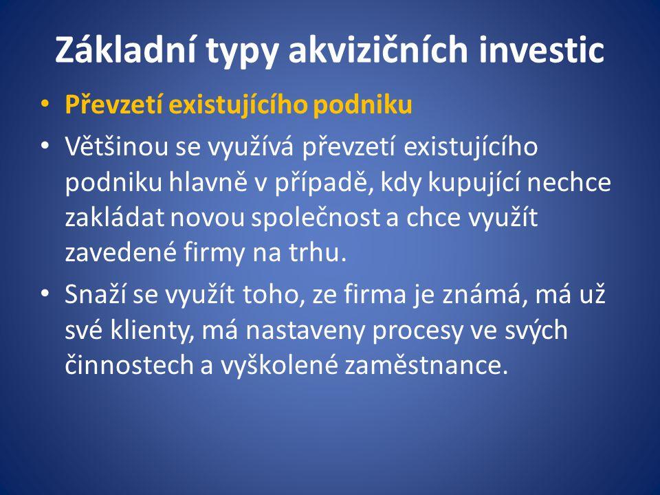Základní typy akvizičních investic