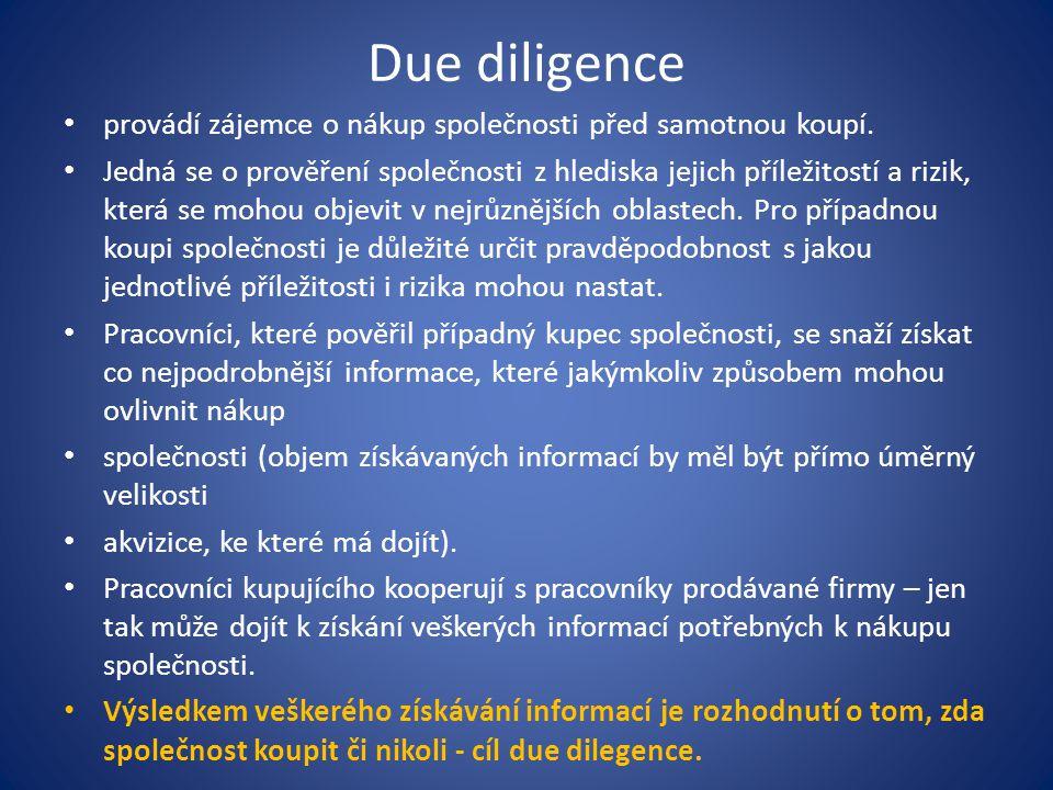 Due diligence provádí zájemce o nákup společnosti před samotnou koupí.