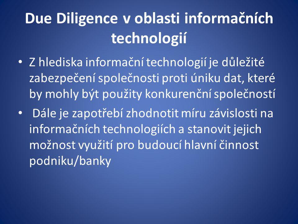 Due Diligence v oblasti informačních technologií