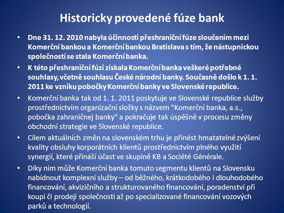 Historicky provedené fúze bank