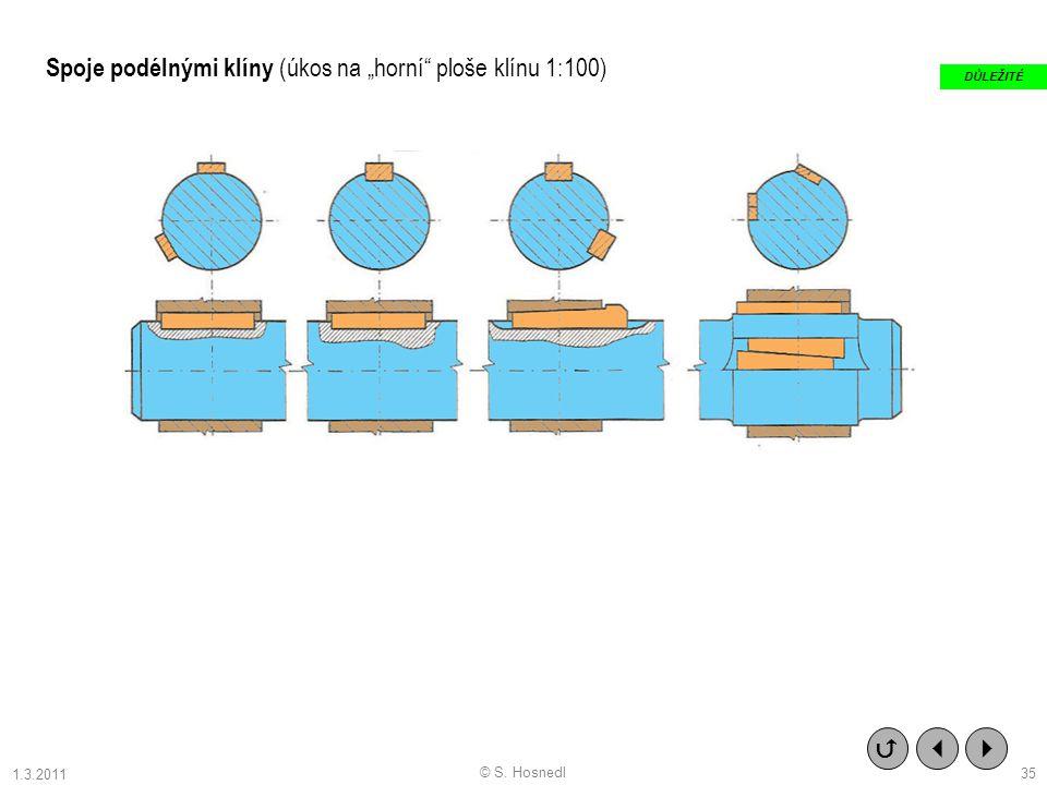 """Spoje podélnými klíny (úkos na """"horní ploše klínu 1:100)"""