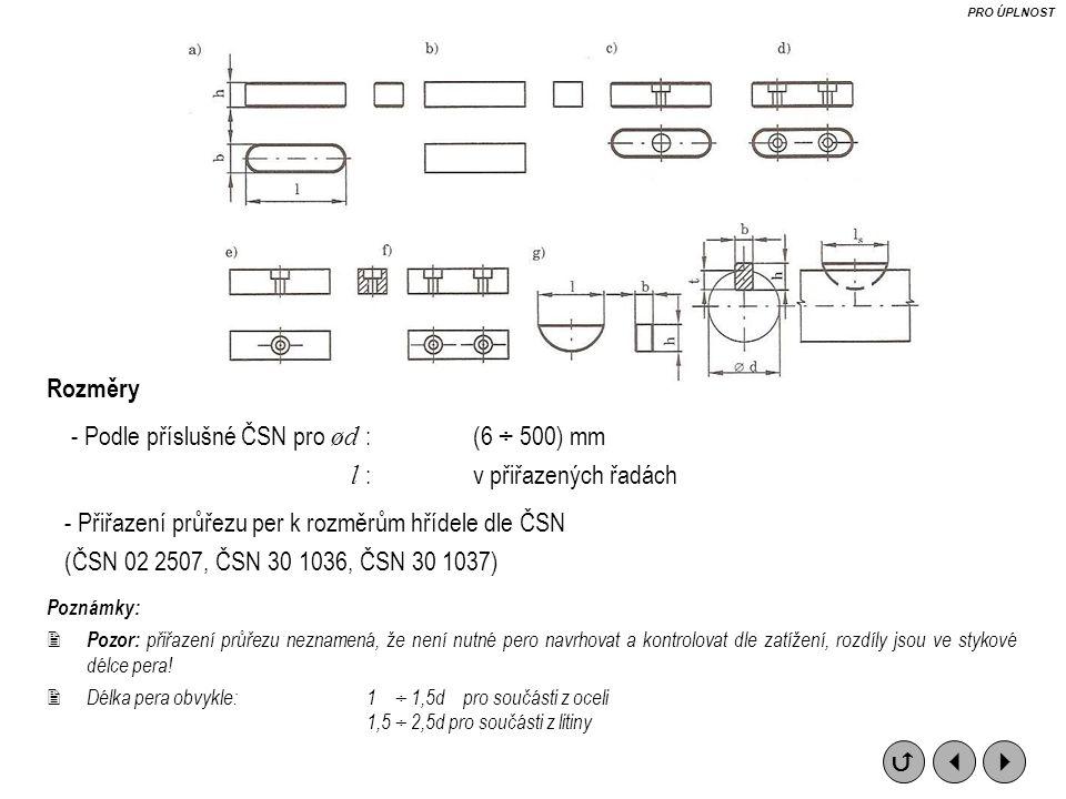 - Podle příslušné ČSN pro ød : (6 ÷ 500) mm l : v přiřazených řadách