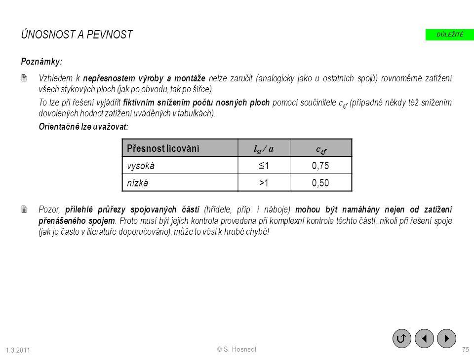 ÚNOSNOST A PEVNOST   Přesnost lícování lst / a cef vysoká ≤1 0,75