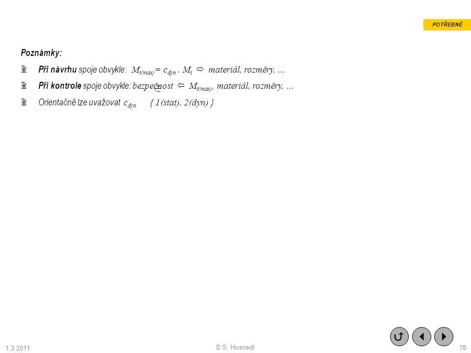 POTŘEBNÉ Poznámky: Při návrhu spoje obvykle: Mt(max)= cdyn . Mt  materiál, rozměry, ...