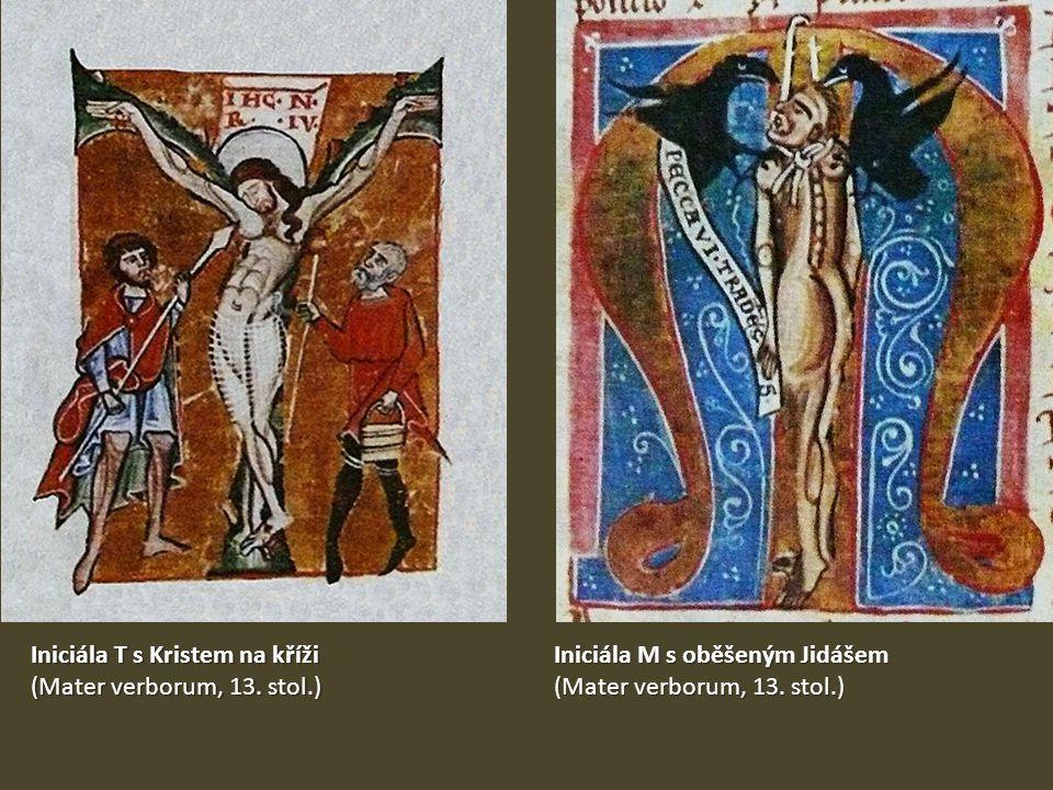 Iniciála T s Kristem na kříži