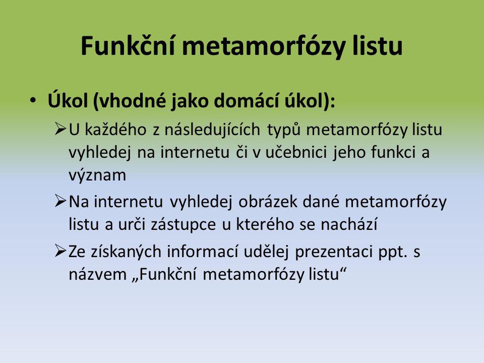 Funkční metamorfózy listu