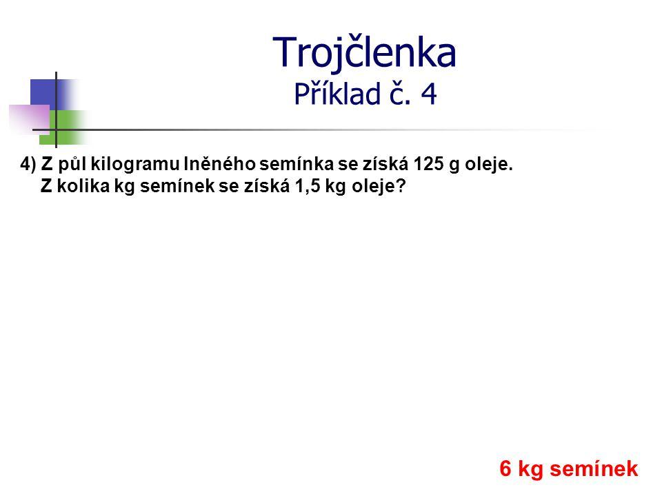 Trojčlenka Příklad č. 4 6 kg semínek