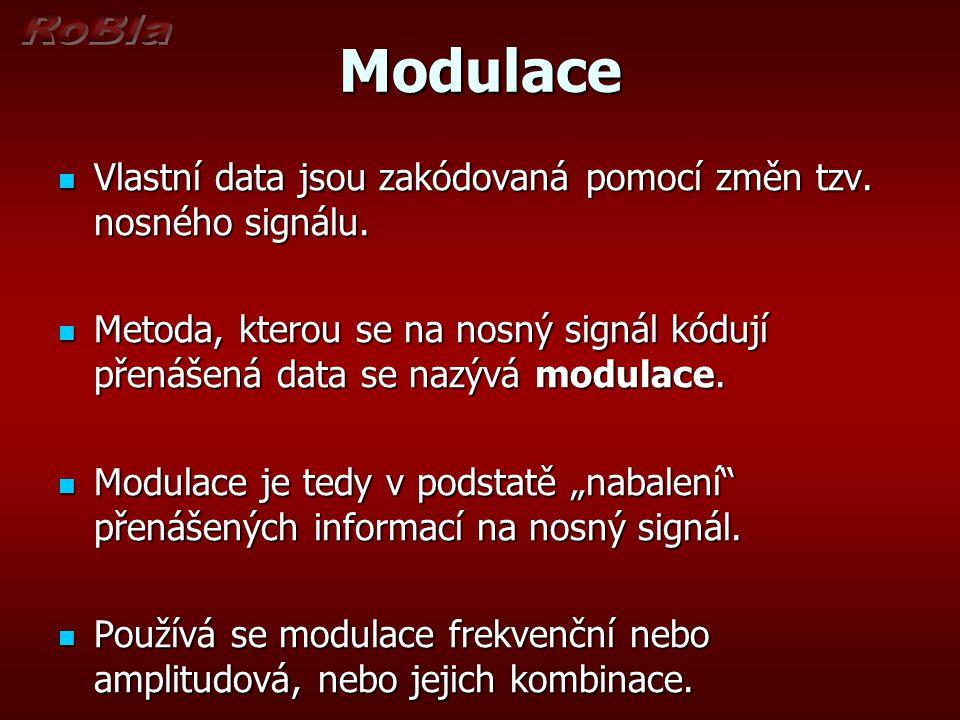 Modulace Vlastní data jsou zakódovaná pomocí změn tzv. nosného signálu. Metoda, kterou se na nosný signál kódují přenášená data se nazývá modulace.