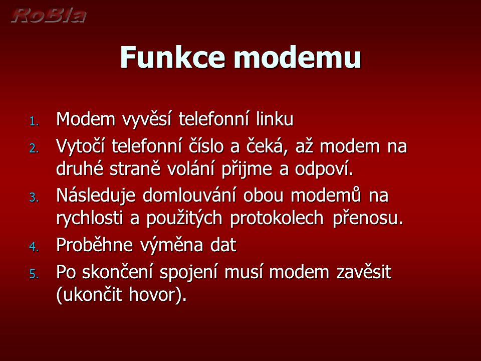 Funkce modemu Modem vyvěsí telefonní linku