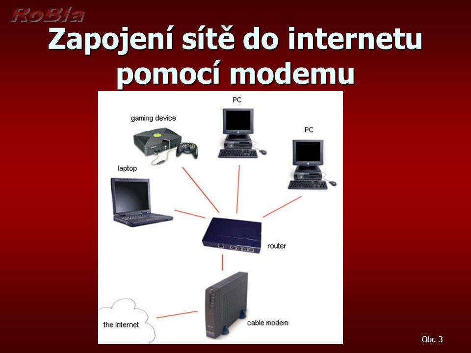Zapojení sítě do internetu pomocí modemu