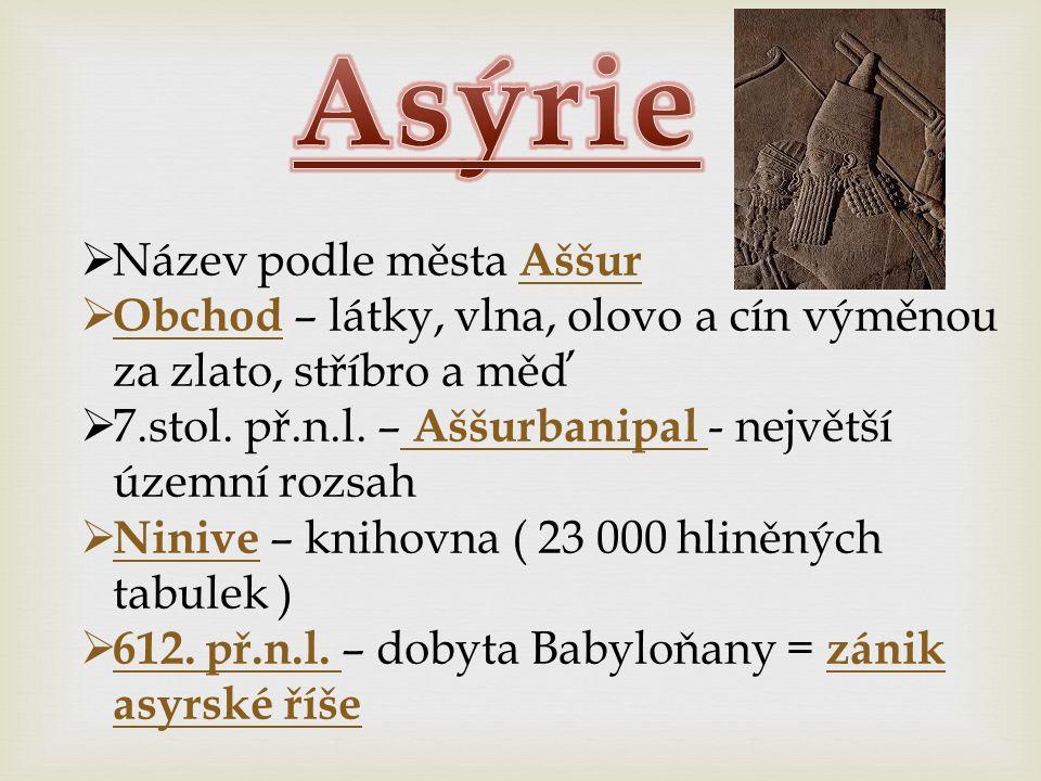 Asýrie Název podle města Aššur