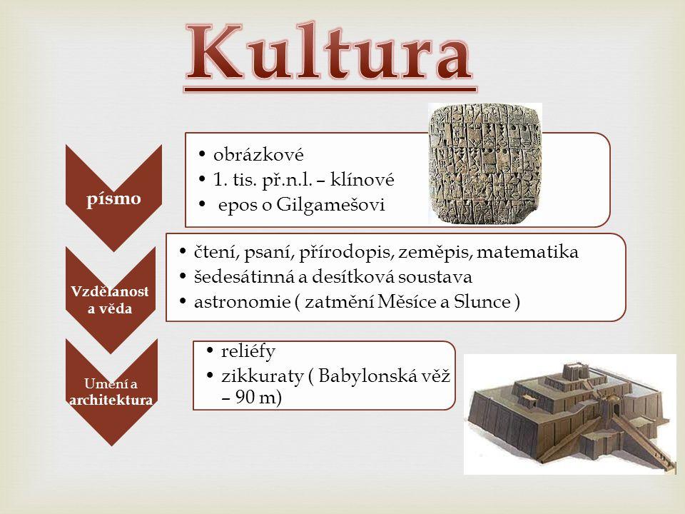 Kultura písmo obrázkové 1. tis. př.n.l. – klínové epos o Gilgamešovi