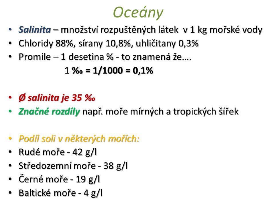 Oceány Salinita – množství rozpuštěných látek v 1 kg mořské vody