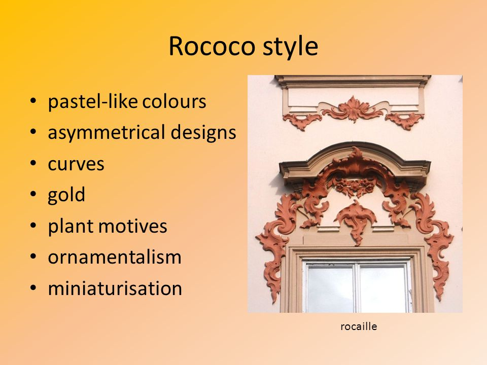 Rococo style pastel-like colours asymmetrical designs curves gold