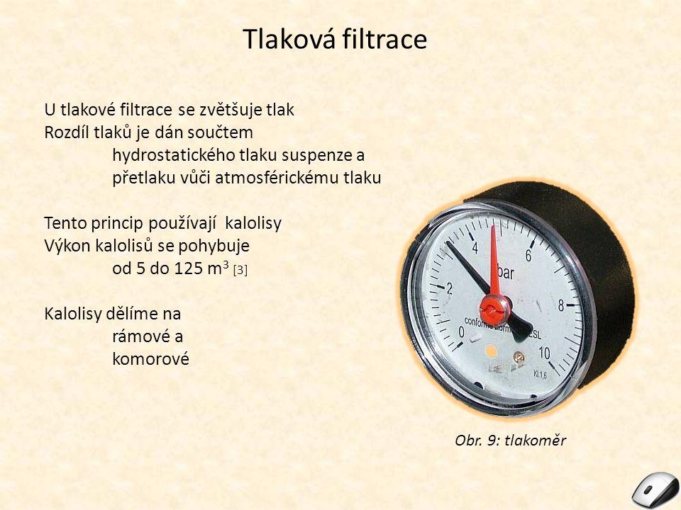Tlaková filtrace U tlakové filtrace se zvětšuje tlak