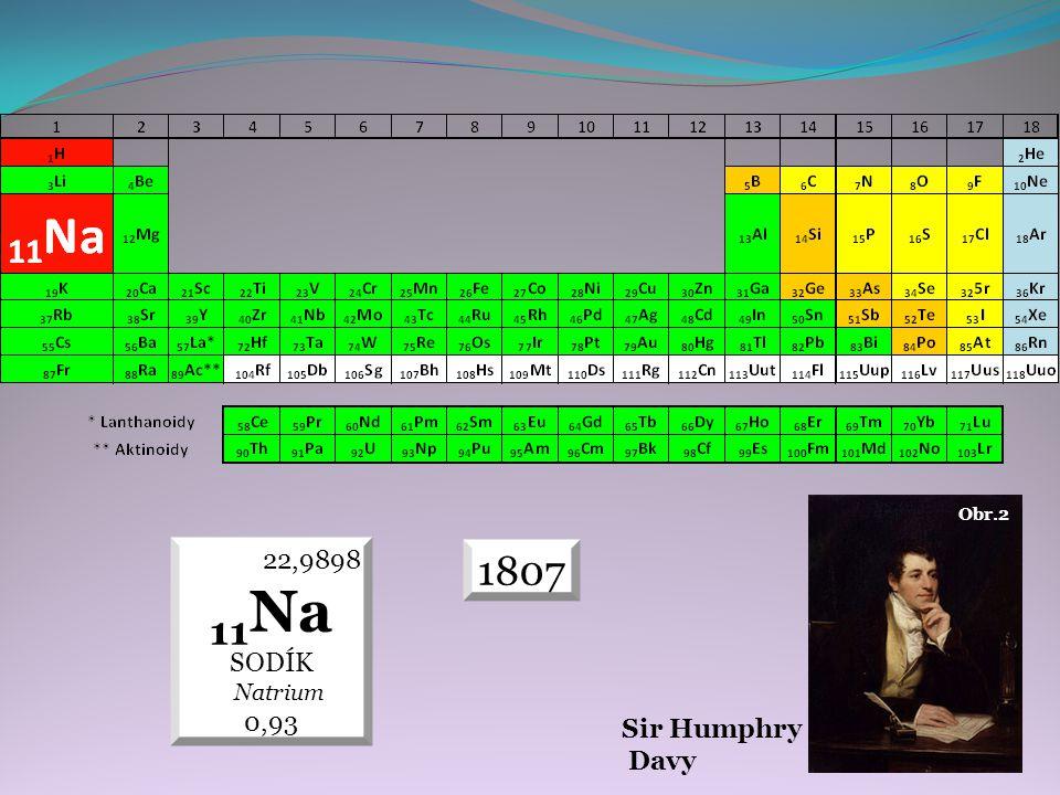 Sir Humphry Davy Obr.2 22,9898 11Na SODÍK Natrium 0,93 1807
