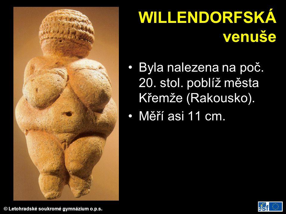 WILLENDORFSKÁ venuše Byla nalezena na poč. 20. stol. poblíž města Křemže (Rakousko). Měří asi 11 cm.
