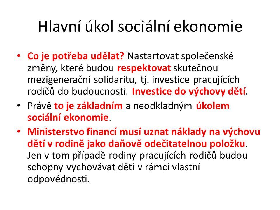 Hlavní úkol sociální ekonomie
