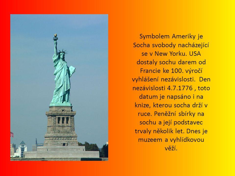 Symbolem Ameriky je Socha svobody nacházející se v New Yorku