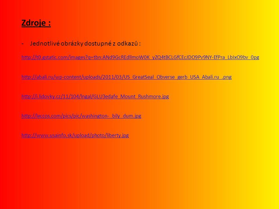 Zdroje : Jednotlivé obrázky dostupné z odkazů :