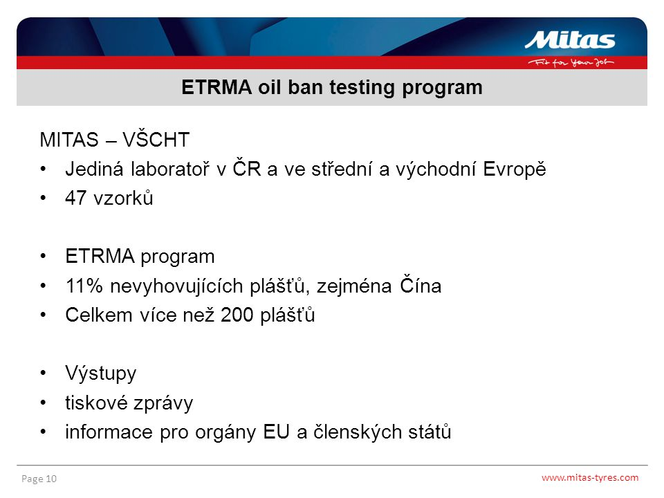 ETRMA oil ban testing program